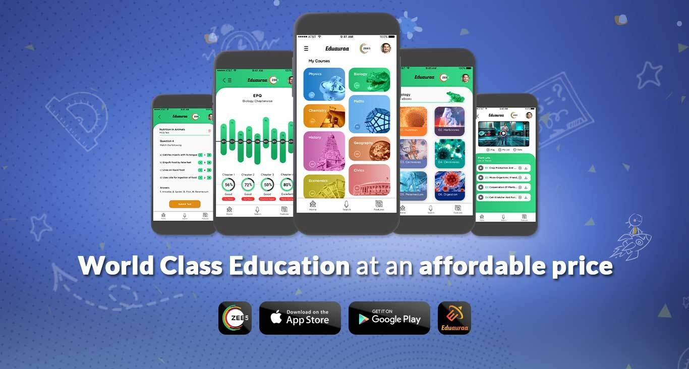 Eduauraa Banner Image displaying Eduauraa App Screens
