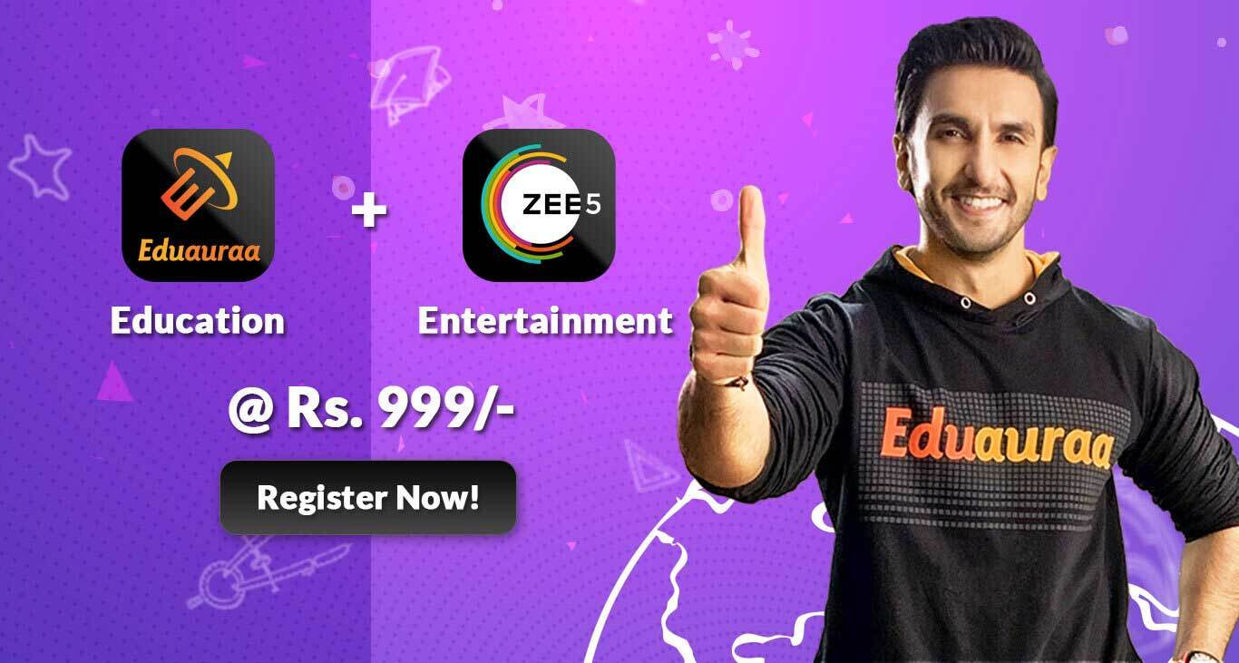 Eduauraa Banner Image displaying the Eduauraa and Zee5 registration package